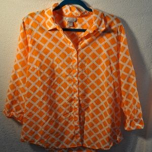 Orange and White Geometric Blouse